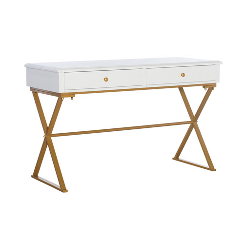 Rowan White and Gold Two-Drawer Thomas Desk
