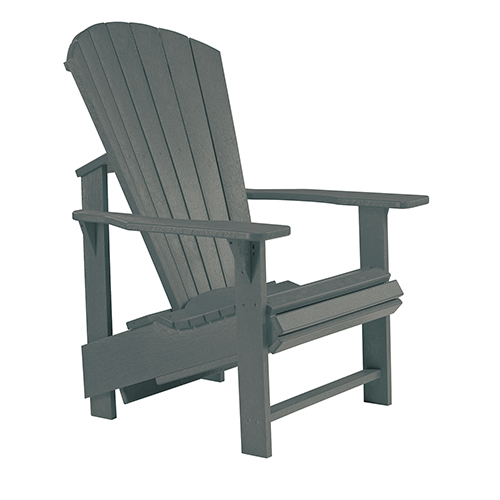 C.R. Plastic Products Generations Upright Adirondack Chair-Slate Grey