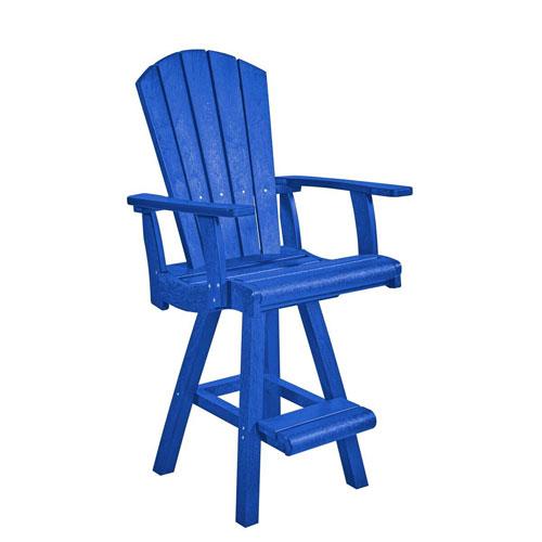 C.R. Plastic Products Generation Blue Swivel Pub Arm Chair