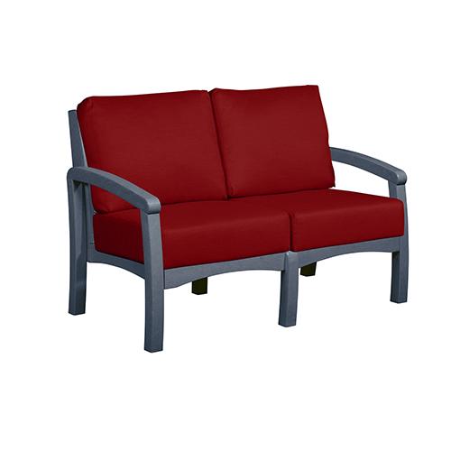 Bay Breeze Jockey Red Loveseat with Cushions