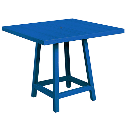C.R. Plastic Products Generation Blue 40-Inch Square Pub Table Top with 40-Inch Pub Table Legs
