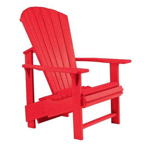 Charmant C.R. Plastic Products Generations Upright Adirondack Chair Red