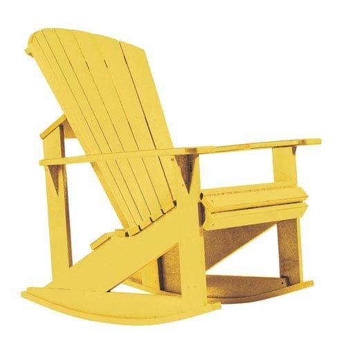 C R Plastic Products Generations Adirondack Rocking Chair Yellow