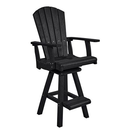 C.R. Plastic Products Generation Black Swivel Pub Arm Chair