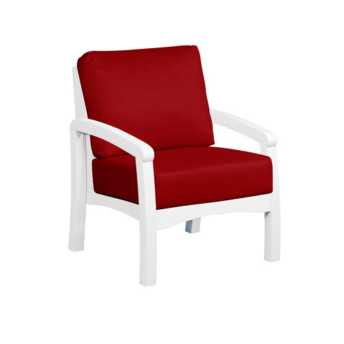 C.R. Plastic Products Bay Breeze Jockey Red Arm Chair with Cushion