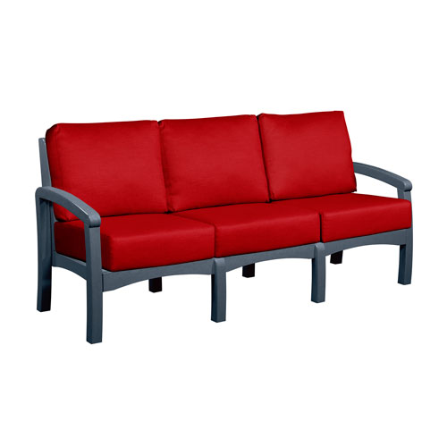 C.R. Plastic Products Bay Breeze Jockey Red Sofa with Cushions