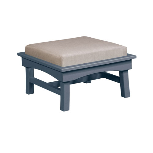 C.R. Plastic Products Bay Breeze Spotlight Ash Large Ottoman with Cushion