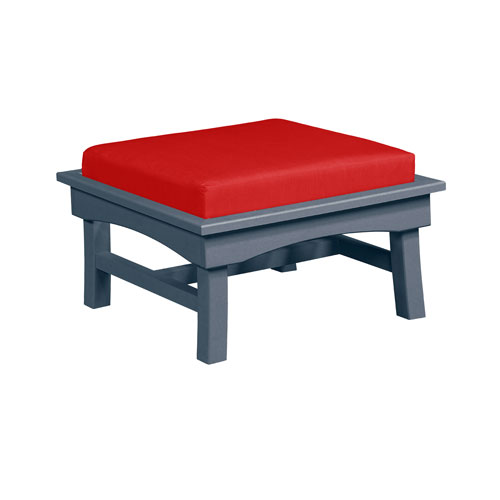 C.R. Plastic Products Bay Breeze Jockey Red Large Ottoman with Cushion