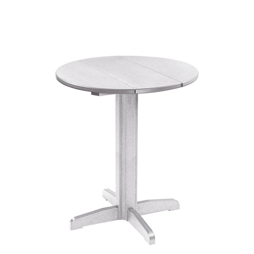 Delicieux C.R. Plastic Products Generation 32 Inch White Round Table Top With A  40 Inch Pub Pedestal Base