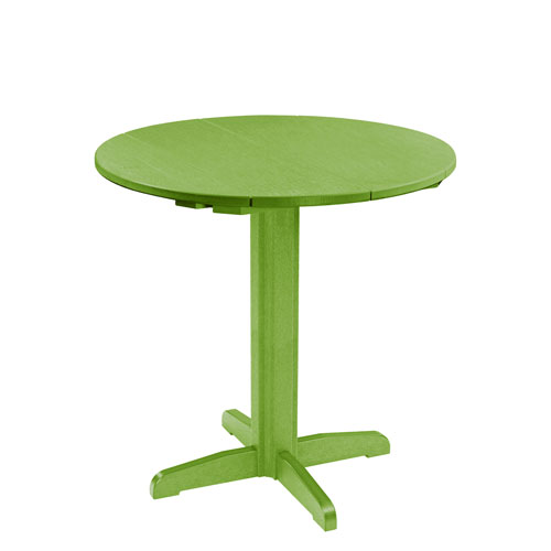 C R Plastic Products Generation Kiwi Green 40 Inch Round Table Top With Pub Pedestal Base
