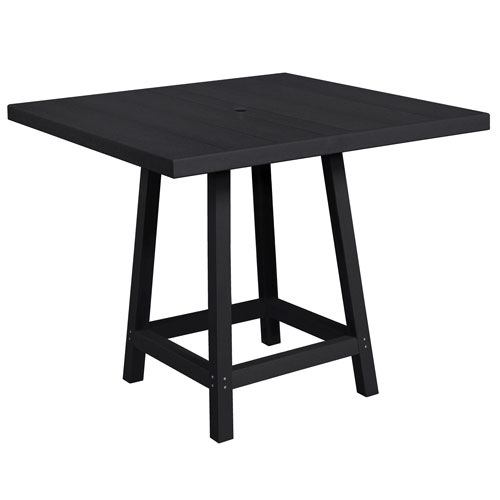 C.R. Plastic Products Generation Black 40-Inch Square Pub Table Top with 40-Inch Pub Table Legs