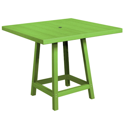 C.R. Plastic Products Generation Kiwi Green 40-Inch Square Pub Table Top with 40-Inch Pub Table Legs