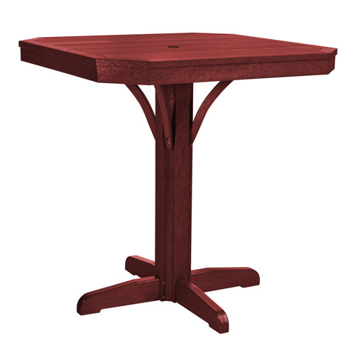 C.R. Plastic Products St. Tropez Burgundy 35-Inch Square Counter Table