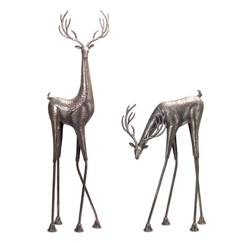 Antique Silver 28 and 45-Inch Tall Metallic Deer Figurine, Set of 2