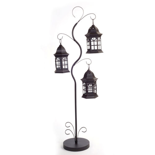 Black 10-Inch Triple Lantern Tree