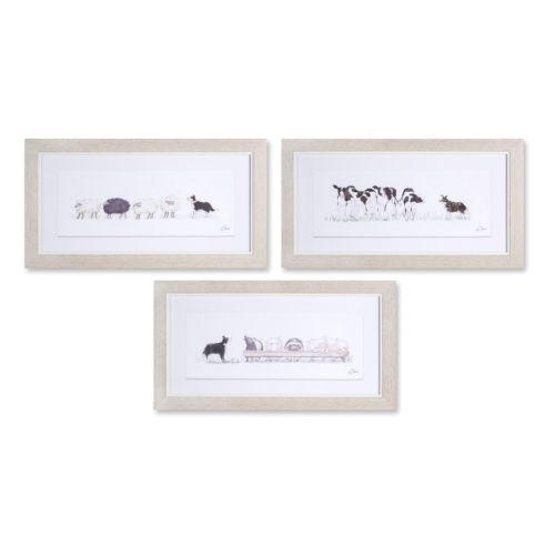 White and Gray Nine-Inch Framed Farm Animal Print Wall Decor, Set of 3