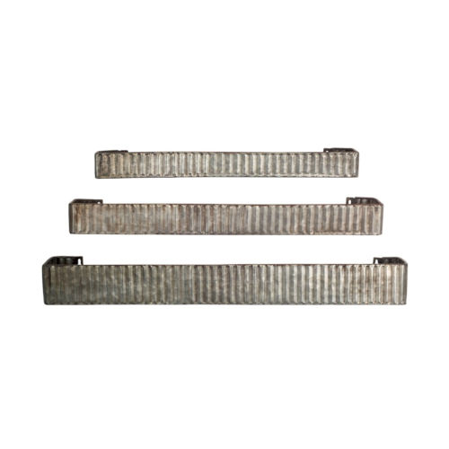 Tin and Rustic Four-Inch Wall Shelf, Set of 3