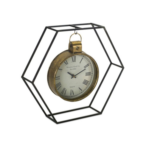 Black and Gold Four-Inch Clock