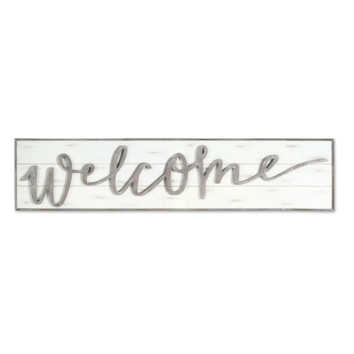 White and Gray Two-Inch Welcome Wall Sign