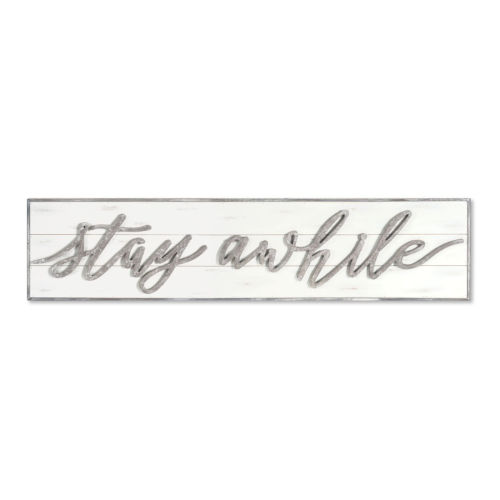 White and Gray Two-Inch Stay Awhile Wall Sign