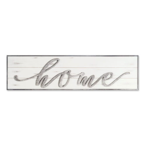 White and Gray Two-Inch Home Wall Sign