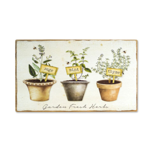 Tan and Green 14-Inch Potted Herb Plaque