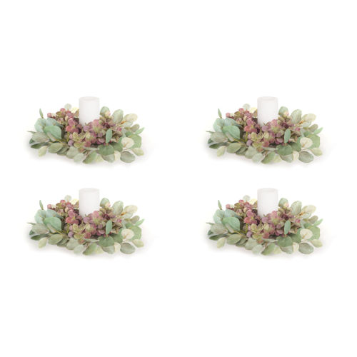 Green and Purple Four-Inch Eucalyptus Candle Ring, Set of 4