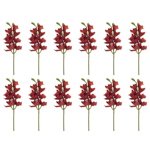 Green and Red Five-Inch Orchid Stem, Set of 12