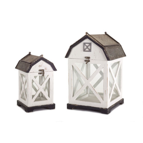 White and Brown Nine-Inch Barn Lantern, Set of 2