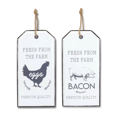 White and Black 21-Inch Chicken and Pig Wall Plaque, Set of 2