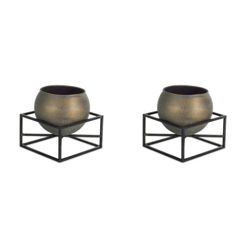 Brown and Metal Seven-Inch Pot with Stand, Set of 2