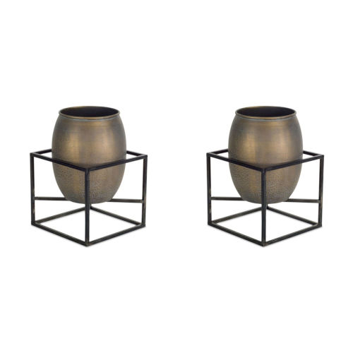 Brown and Metal Six-Inch Pot with Stand, Set of 2
