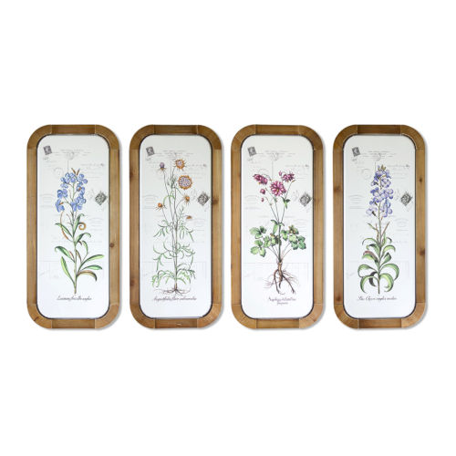 White and Brown 26-Inch Floral Plaque, Set of 4