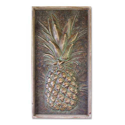 Green and Brown Two-Inch Pineapple Plaque