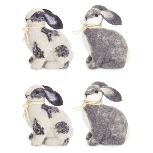 Black and White Four-Inch Rabbit Figurine, Set of 4