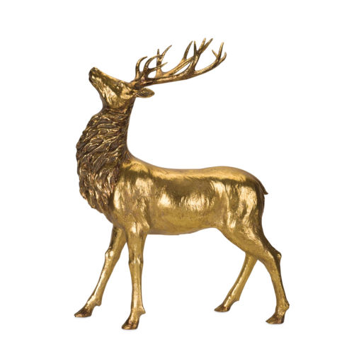 Gold and Black Standing Deer Figurine