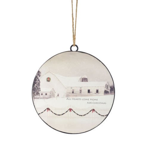 Holiday Farm Scene Disc Ornaments, Set of 12