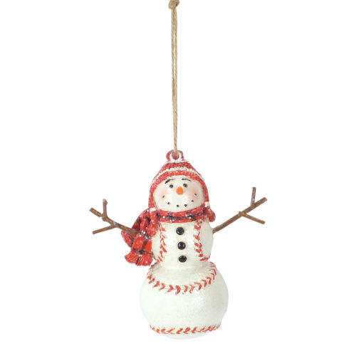 White and Red Baseball Snowman Ornament, Set of 6