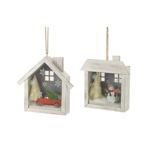 Holiday Home Shadow Box Ornament, Set of 6
