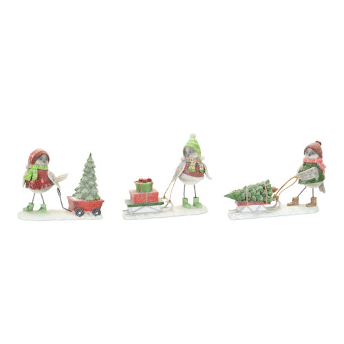 Holiday Snow Bird with Sled Figures, Set of 3