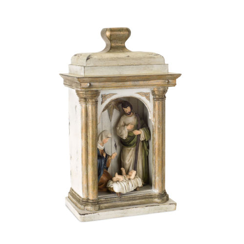 Tan and Brown 15-Inch Holy Family in Arch