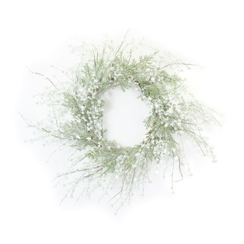 Green and White Pine and Berry Wreath