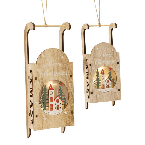 LED Lighted Sled Cut-Out Ornament, Set of 4