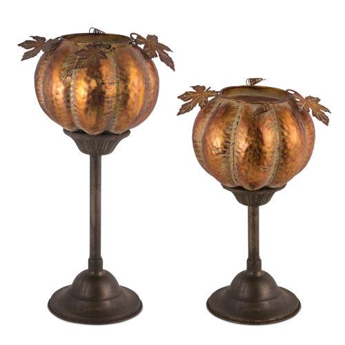 Orange and Brown Pumpkin Candle Holder, Set of 2