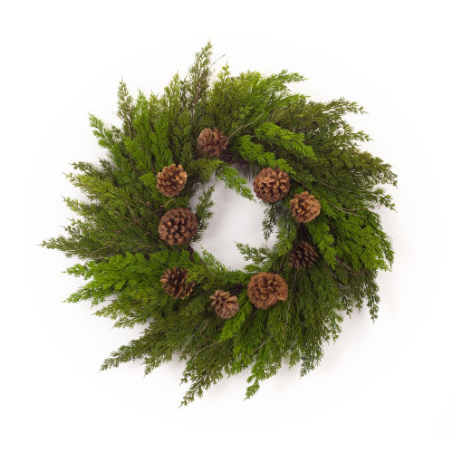 Green and Brown 28-Inch Pine Cone Wreath