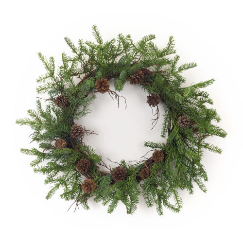 Green and Brown Pine Twig Wreath