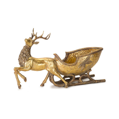 Golden Deer with Holiday Sleigh