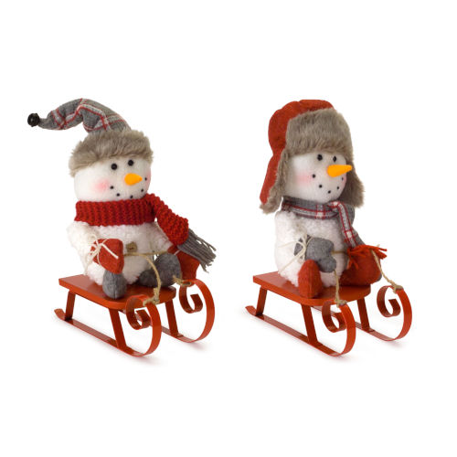 White and Red Snowman on Sled, Set of 2
