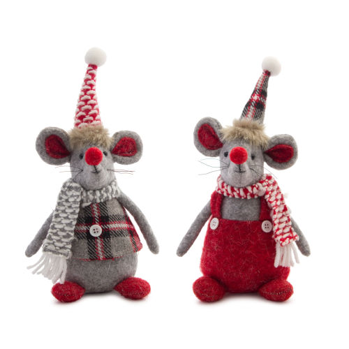 Red and Gray Holiday Mice, Set of 6