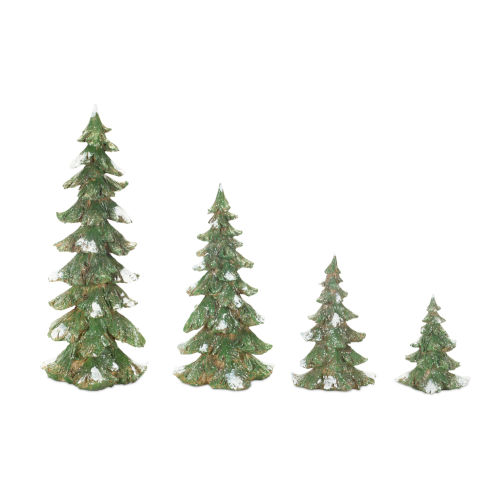 Green and White Winter Tree, Set of 4